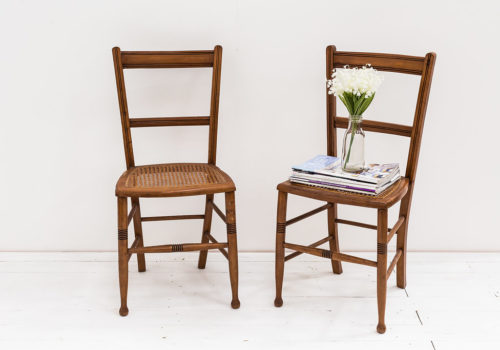 Antique Wicker Base Salon Chairs