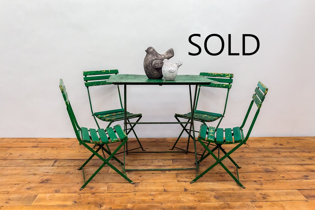 Vintage French Folding Cafe Table And Chairs