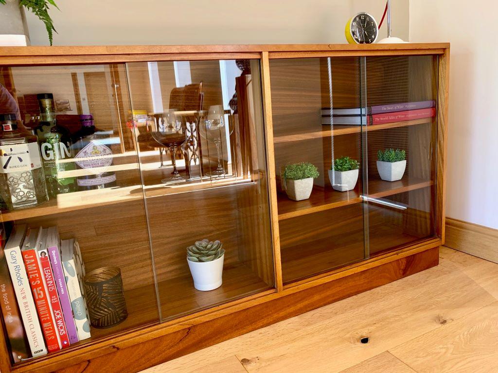 X Mid Century Low Glazed Bookcase Unit In Teak Antique